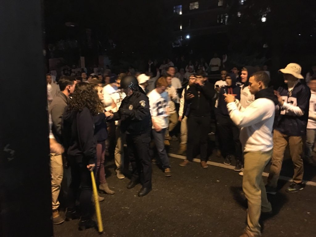 A girl arrested at riots after Penn State game