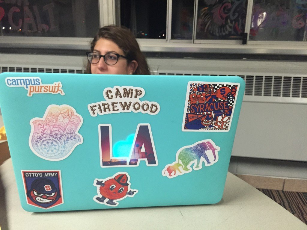 "Freshman Emma Lipstone was very excited when her order of stickers from Redbubble came in. ""I like them because they represent who I am."""
