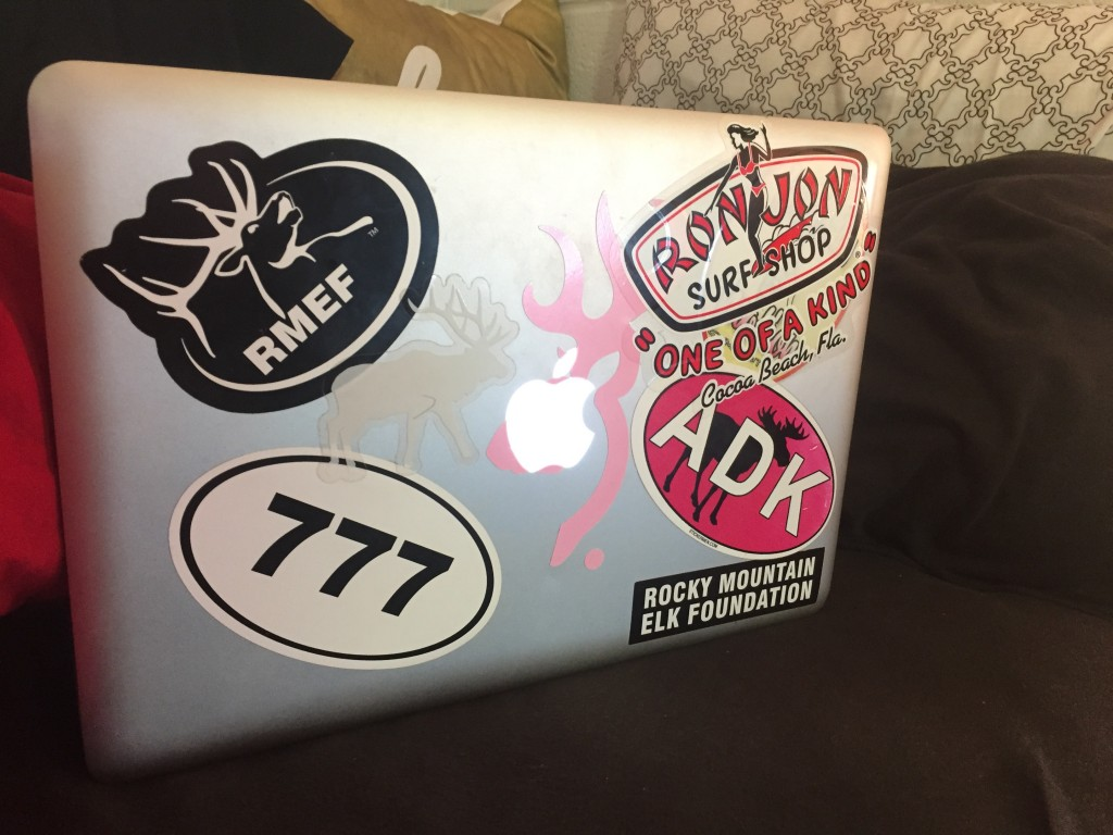 """I got a few of these to show my love for hunting and wakeboarding, I think they look cool"" Freshman Stacia Sakadolsky told me about her stickers. ""The 777 one is for the plane my dad flies."""
