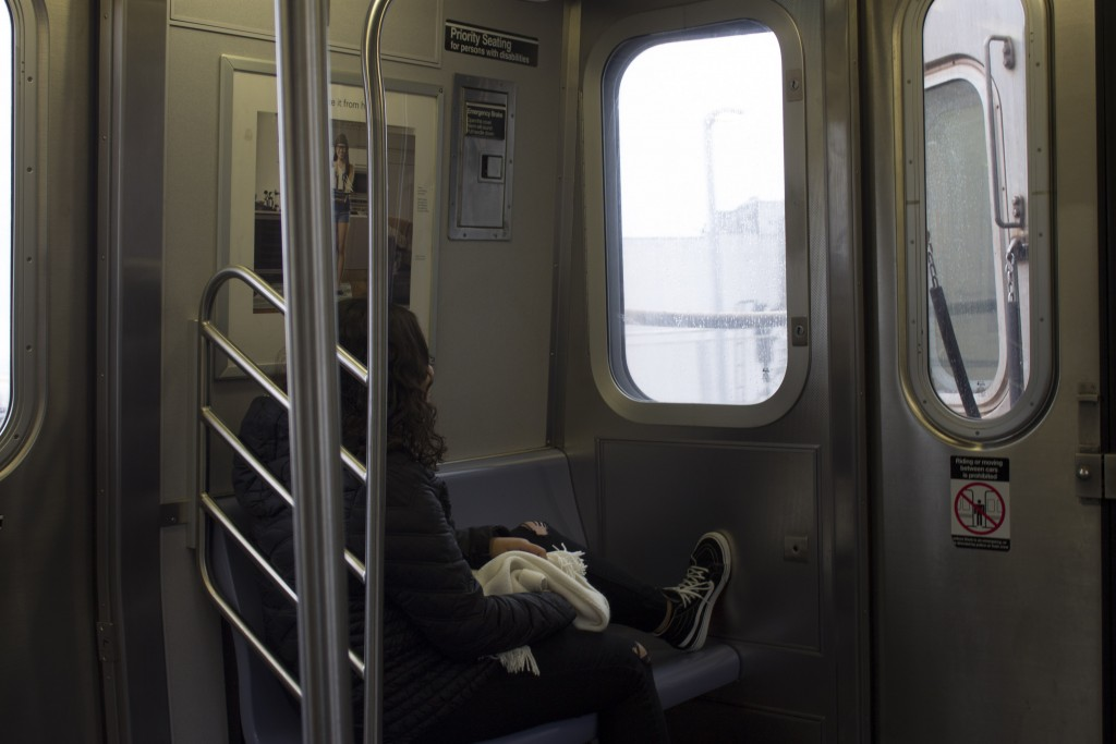 On the train to Coney Island. One of the places we went to before I headed to college.