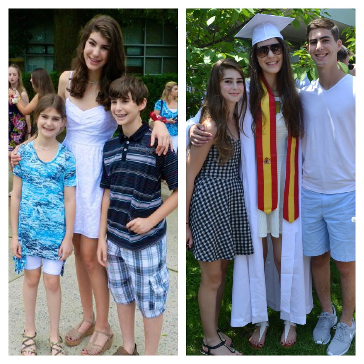 From MS graduation to HS graduation. The height difference though...