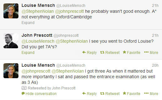 Louise Mensch and John Prescott took to twitter to voice their opinions...