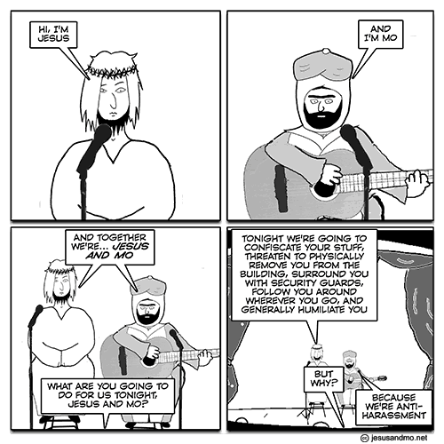 The t-shirts carried the popular 'Jesus and Mo' cartoon
