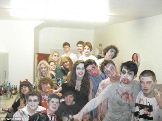 Students enjoying the (haunted) house