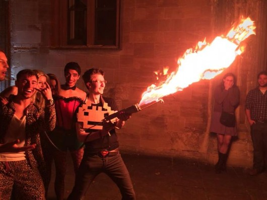 This speccy young chap took a flamethrower to a party in Oxford