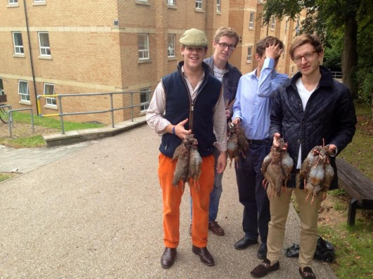 These naughty chaps went shooting and got in trouble for hanging dead animals around their halls