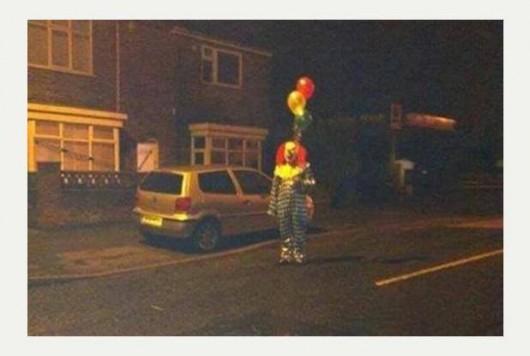 Clown in town in Sheffield