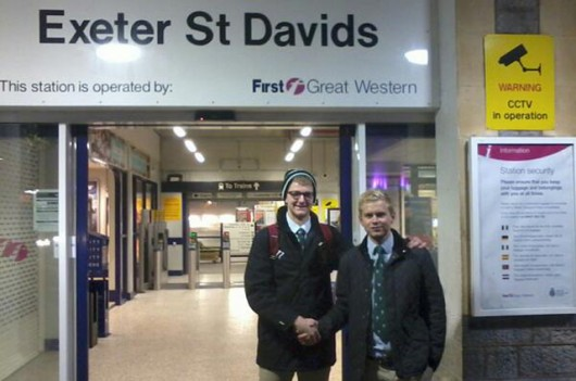 Jack at Exeter St Davids before embarking on his odyssey