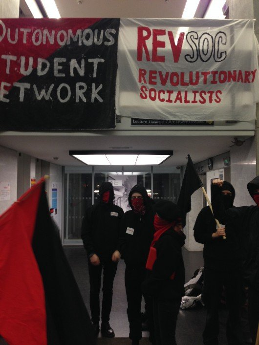 Students protested in solidarity with striking lecturers...