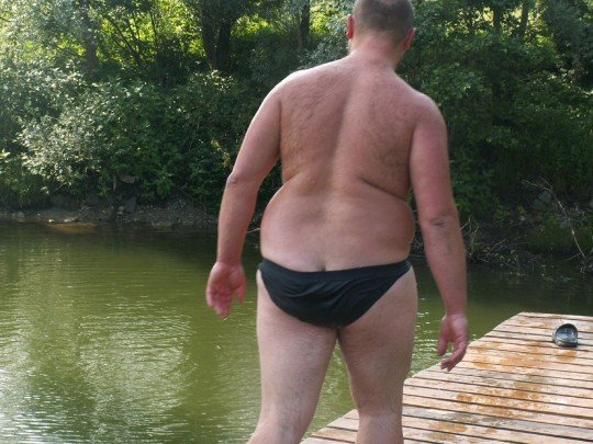 See? He's going for a swim! Fat people AREN'T lazy