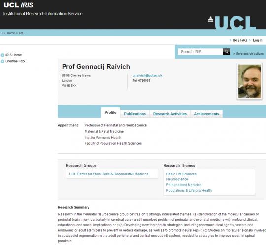 Professor Raivich's online staff profile