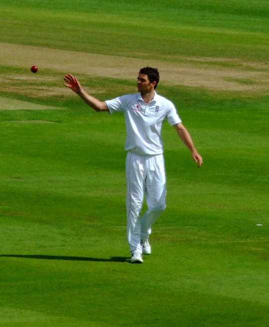 Ballance was celebrating with England teammate James Anderson (pictured)