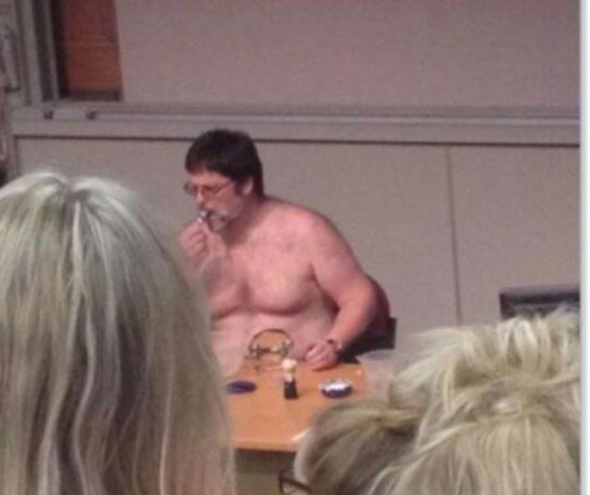 After stripping to his undies, Dr Lamond then sat and shaved in front of the class