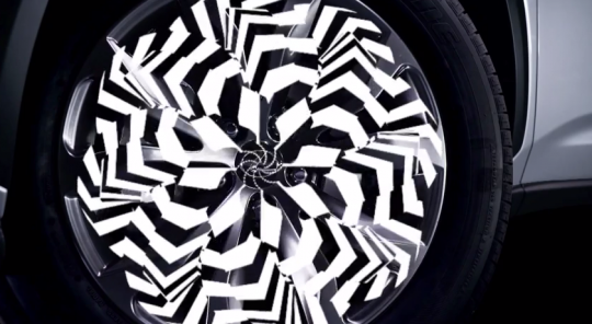 The artists based kaleidoscopic elements off aspects of the Lexus NX's design