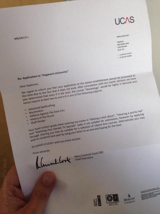 Hogwarts rejection letter