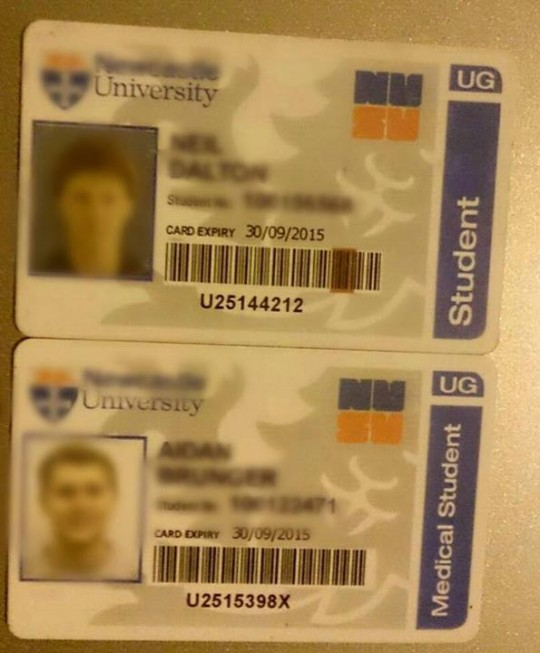 This pixelated picture of the pair's student cards was released by local newspapers