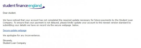 Click to enlarge - the email received by Brookes students