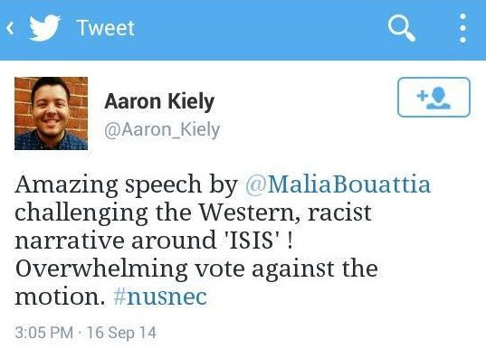 Aaron Kiely tweeted support for the motion's failure, although his tweet now appears to have been deleted