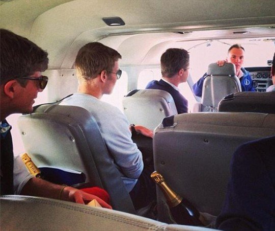 The boys on a private plane to South Africa