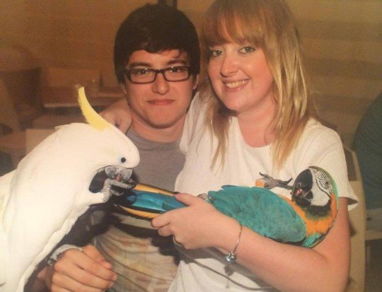 emma-and-dale-and-parrots-540x413