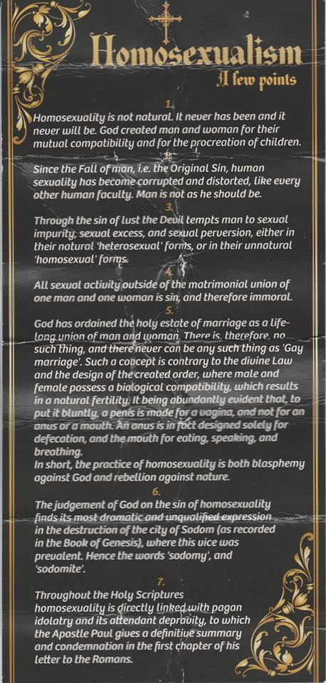 One of Brother Kelly's provocative leaflets