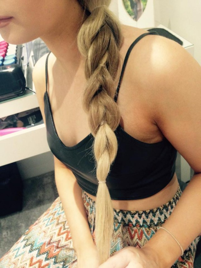 Continue for as long as you want the braid to go on for and secure with a clear band.