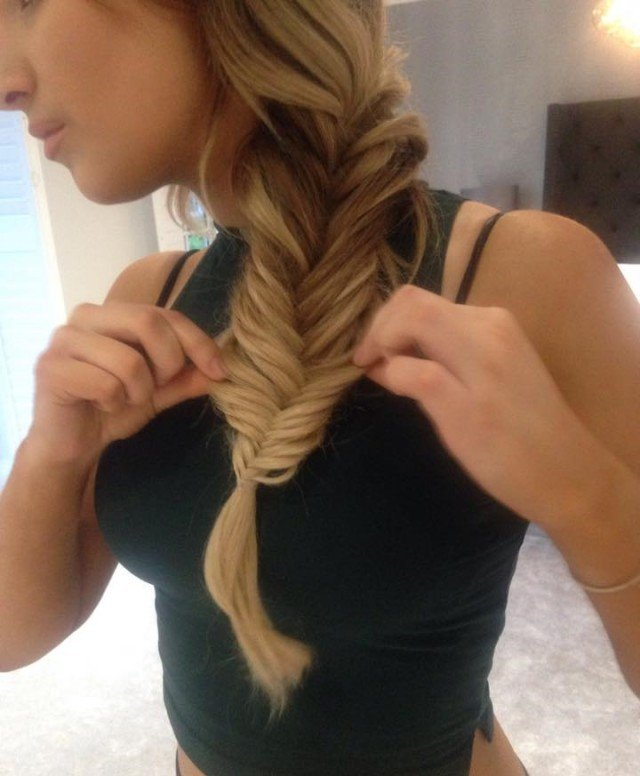 Secure with a clear band and gently pull the plait apart - working from the top down.