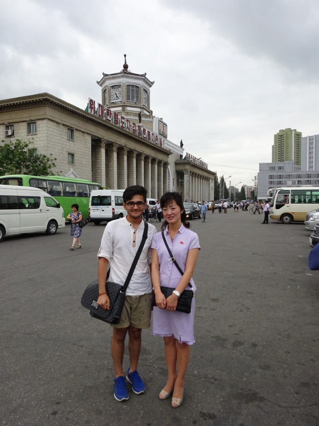 My Korean guide in front of Pyongyang Station