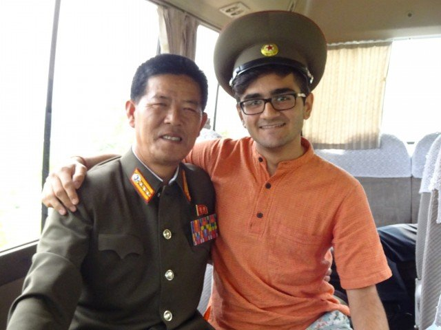 A friendly North Korean Colonel who lent me his hat