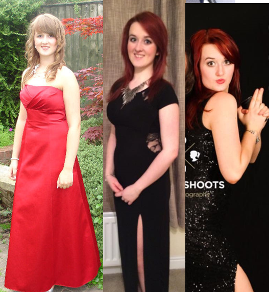 (left) Emily at her highschool prom (right) a party mad Med student