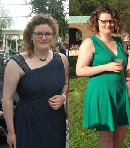 (left) Faith wore a long smoky grey dress from Coast. (right) Faiths Uni style has evolved massively as she rocks a shorter do and bold green cocktail dress.