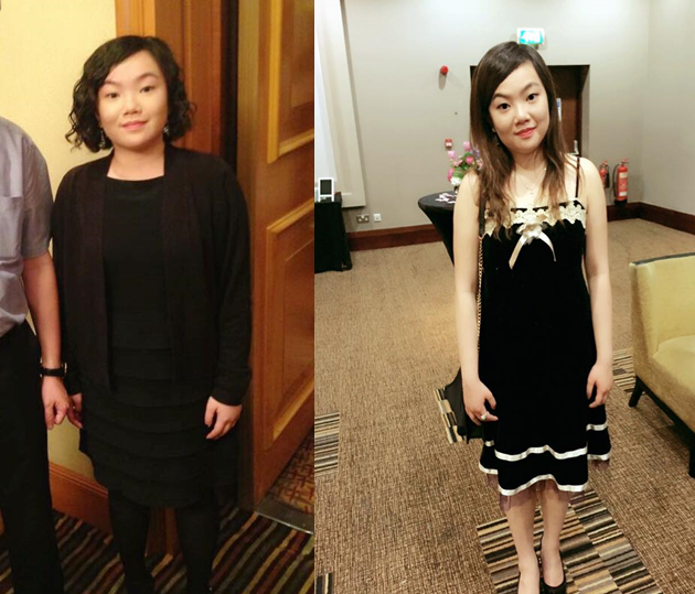 (Right) Lorainne wore a simple black dress to her highschool graduation ball. (right) looking sweeter than ever in velvet and white lace.