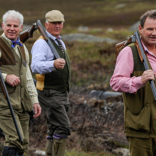Members of a shooting party are pictured on a shoot near Glenclova, Scotland on August 12 2015. Known as the Glorious Twelfth, today marks the beginning of the Grouse hunting season. A shooting party took to the hills surrounding Glenclova in what's thought to be a bad season for Grouse hunting.