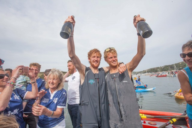 Tom Rainey(R) and Lawrence Walters(L) return back to Salcombe, Devon, having rowed from New York (USA) on the Ocean Valour. Tom Rainey and Lawrence Walters are set to break the world record for being the youngest people to row across the Atlantic.  See swns story SWROW
