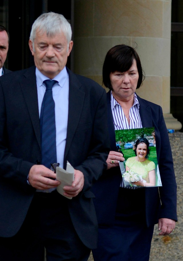 The parents of murdered Irish student Karen Buckley, 24, John Buckley, 62 and Marian Buckley, 61, talk to the media at  Glasgow High Court