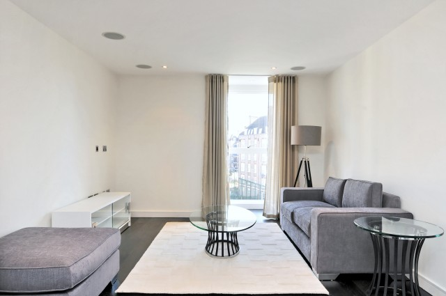 Reception room in a one bedroom property in Moore House  (courtesy Knight Frank)