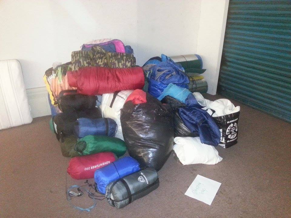 A small sample of the sleeping bags picked up at Leeds Festival
