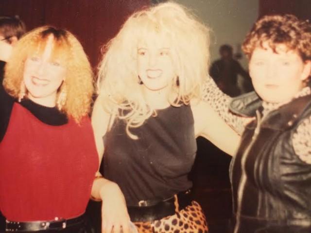 Mum (far left) living it up in Thatcher's Britain