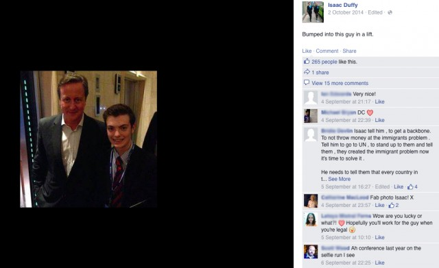 Isaac got a lot of likes for his selfie with David Cameron