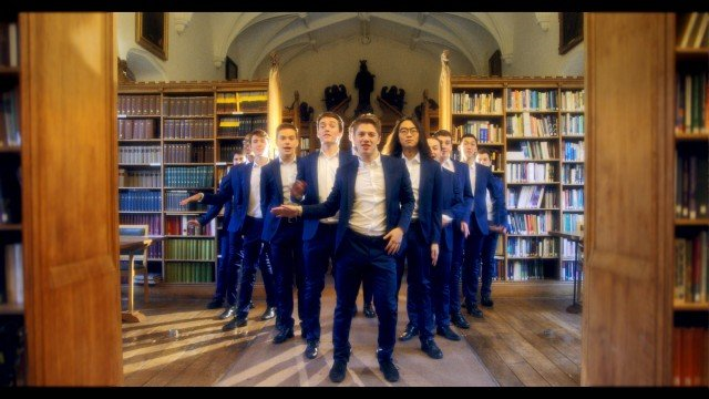 Out of the Blue, a group of posh toffs from Oxford University have released the most cringeworthy Christmas single of all time - an all-male choir rendition of 'Santa Baby.' See SWNS story SWCRINGE. Out of the Blue, a 12-piece a cappella group, shot a cheesy video for the festive hit which captured them in action all over famous Oxford landmarks - serenading each other. The lyrical lads donned blue suits and Santa hats for the quirky rendition of Eartha Kitts much-loved classic and combined tight harmonies with outrageous choreography. Last year, they racked up over SIX MILLION views with a cover of ShakiraÃs ÃHips donÃt lieà which made a whopping Ã10,000 for a childrenÃs hospice. Helen and Douglas House, in Oxford, was the first hospice for children in the world, and running purely on donations, has benefitted hugely from the groupÃs fundraising efforts.
