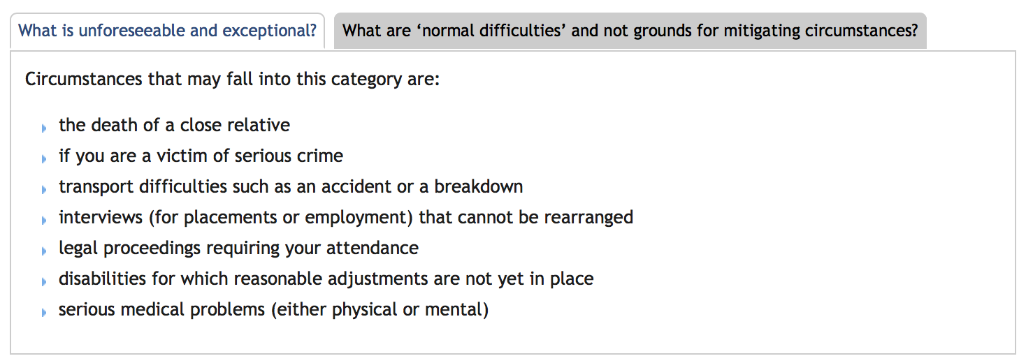 York provides these examples as suggested acceptable circumstances for their policy.