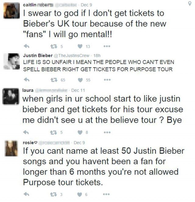 Some Beliebers weren't happy about the ticket situation