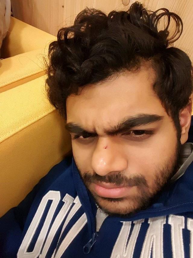 Shashank after a night spent sleeping inside uni