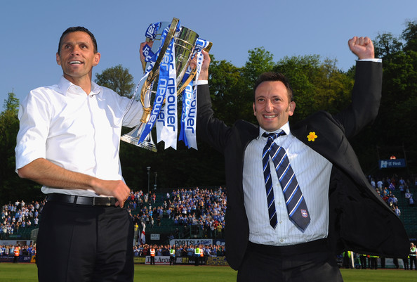 Tony Bloom celebrating winning League One with Gus Poyet in 2011