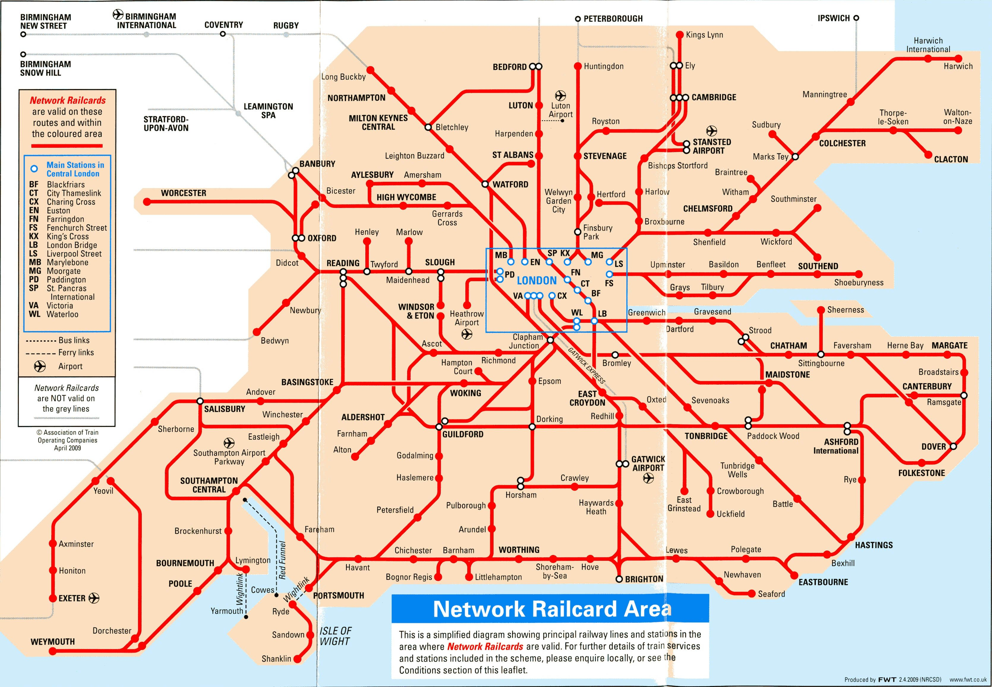 Network Railcard map (FWT 4