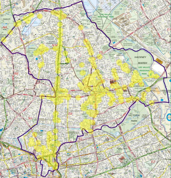 The highlighted yellow areas indicate where the local government operate CCTV