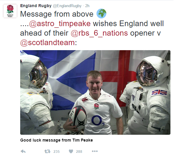 Tim Peak throwing shade from England Rugby
