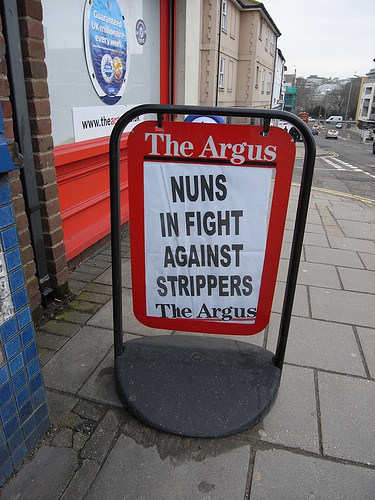 the argus nuns in fight against strippers crazy headline