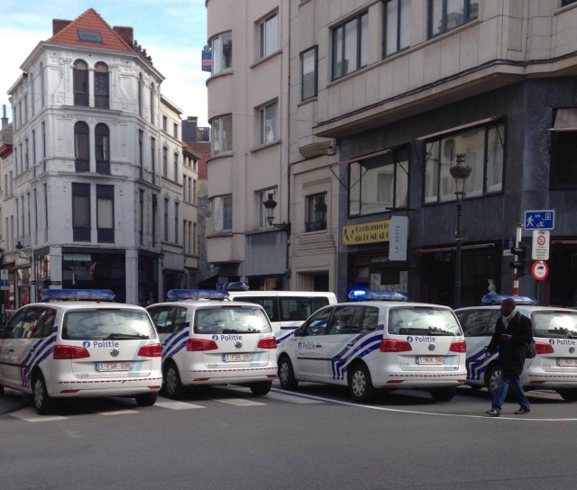 Police cars on the streets of Brussels