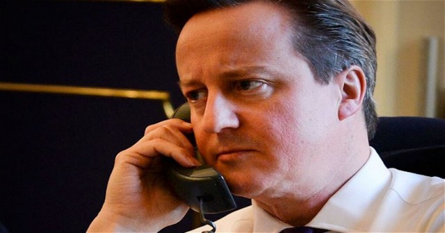 David Cameron on the phone